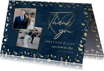 Dankeskarte zur Hochzeit mit Foto in dunkelblau mit Gold