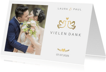 Dankeskarte zur Hochzeit mit goldenen Tauben und Herz