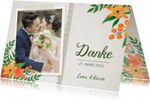 Dankeskarte zur Hochzeit Vintage Blumen mit Foto
