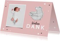 Dankeskarte zur Taufe eigenes Foto rosa Bär und Sterne