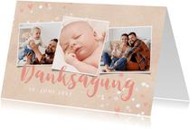 Dankeskarte zur Taufe Fotos, Punkte und Herzen