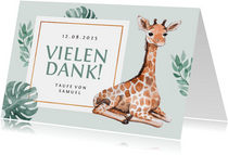 Dankeskarte zur Taufe süße Giraffe Fotos innen