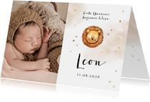 Danksagung Geburt Foto & kleiner Löwe