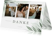 Danksagung Hochzeit Fotocollage zierliche Blätter