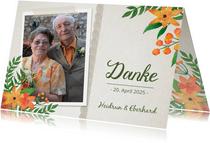 Danksagung Hochzeitsjubiläum Foto und Blumen