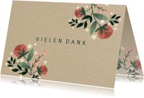 Danksagung Hochzeitstag Blumen auf Kraftpapier