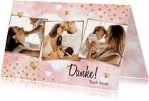 Danksagung Taufe Aquarell rosa Fotos, Punkte und Herzen