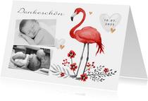 Danksagung Taufe Fotos, Flamingo und Herzen