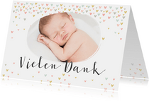 Danksagung Taufe mit Foto und kleinen Pastellherzen