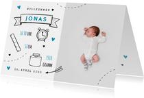 Danksagung zur Geburt Foto und Doodles blau