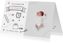 Danksagung zur Geburt Foto und Doodles rosa