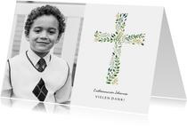 Danksagung zur Kommunion Foto und Kreuz botanisch