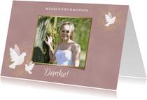 Danksagung zur Konfirmation Foto & weiße Tauben