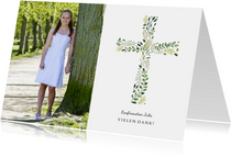 Danksagung zur Konfirmation Foto und botanisches Kreuz
