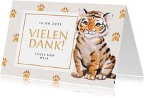 Danksagung zur Taufe süßer Tiger Fotos innen