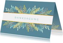Danksagungskarte blau mit Blumenschmuck