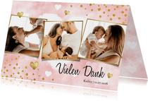 Danksagungskarte Geburt Bilderreihe rosa
