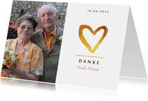 Danksagungskarte Hochzeitstag Foto und Herz