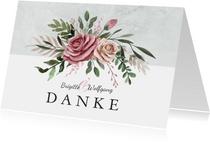 Danksagungskarte Hochzeitstag Rosenstrauß