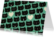 Dierenkaart Blauw Zwarte Kat