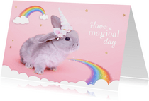 Dierenkaart - Eenhoorn konijntje regenboog