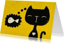 Dierenkaart Geel Zwarte Kat