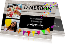 Dinerbon collage uitnodiging