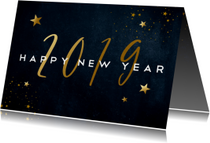 Donkerblauwe nieuwjaarskaart met gouden sterren