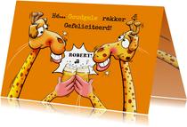 Een grappige en verrassende verjaardagskaart met 2 giraffen