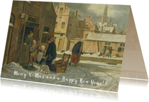 Een klassieke kerstkaart met schilderij van stadsgezicht