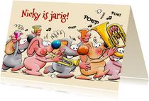 Een leuke en grappige verjaardagskaart met 5 muizen