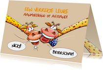 Een verrekte grappige beterschapskaart met twee giraffen