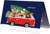 Een vrolijk Volkswagen busje vol kerst diertjes