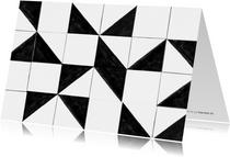 Een zomaar kaartje met zwart-wit tegel patroon