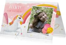 Eenhoorn unicorn verjaardagskaart voor een meisje met foto