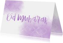 Eid Mubarak kaart paars patroon waterverf