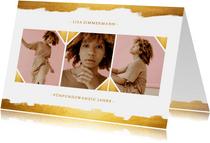 Einaldungskarte 25. Geburtstag Fotocollage mit gold