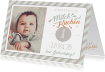 Einladung 1. Geburtstag Milch und Kuchen