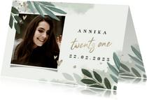 Einladung 21. Geburtstag mit Blättern, Foto und Herzen