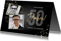 Einladung 50. Geburtstag mit Konfetti & zwei Fotos