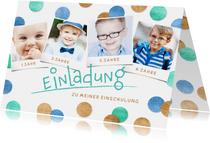 Einladung Einschulung Fotocollage & Konfetti blau