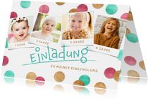 Einladung Einschulung Fotocollage & Konfetti pink