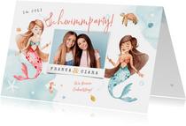 Einladung Geburtstag Geschwister mit Foto & Meerjungfrauen