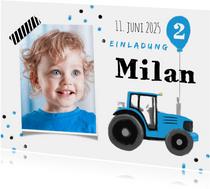 Einladung Kindergeburtstag blauer Traktor und Foto