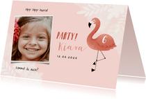 Einladung Kindergeburtstag botanisch Flamingo und Foto