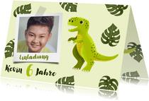 Einladung Kindergeburtstag Dinosaurier, Foto und Blätter