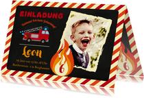 Einladung Kindergeburtstag Feuerwehr mit Foto
