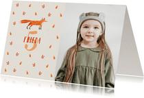 Einladung Kindergeburtstag Foto, herbstliches Muster & Fuchs