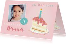 Einladung Kindergeburtstag Foto und Torte mit Kerze
