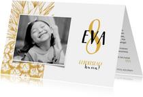 Einladung Kindergeburtstag goldene Ananas und Foto